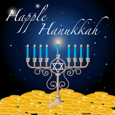 Happy Hanukkah card template with light and gold - Download Free Vector Art, Stock Graphics & Images