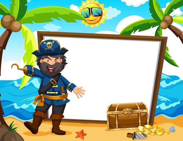 Capitán pirata y estandarte blanco
