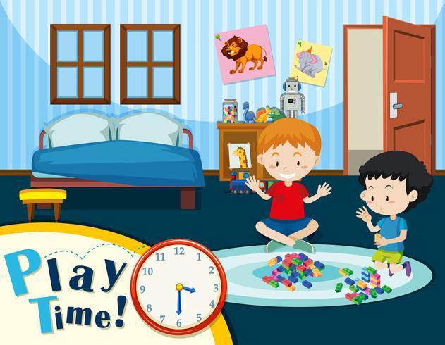 Barn leker i sovrummet