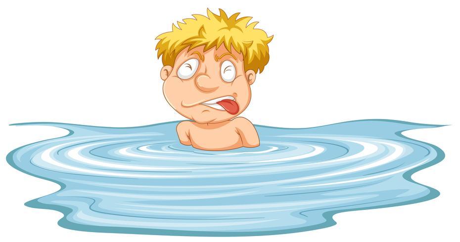 Een man heeft hulp nodig in het water