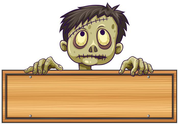 Teken sjabloon met zombie erachter