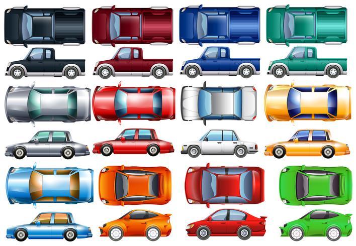 Set van auto's en vrachtwagens in vele kleuren vector
