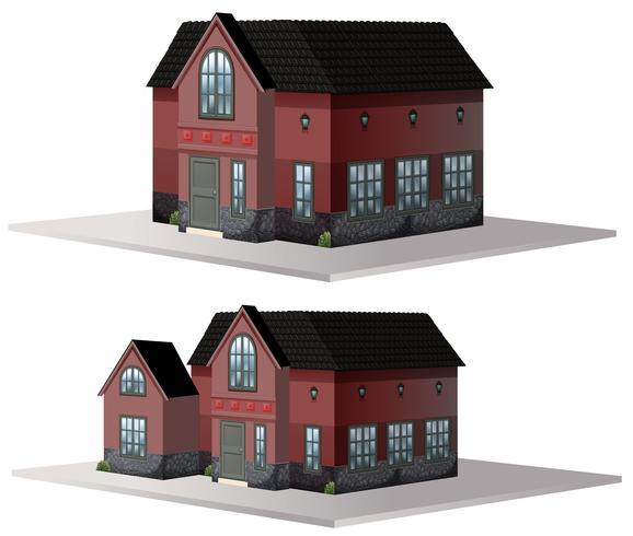 Twee stijlen van huizen in bruine kleur