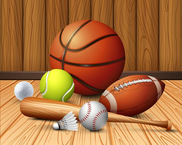 Olika sportutrustning på golvet