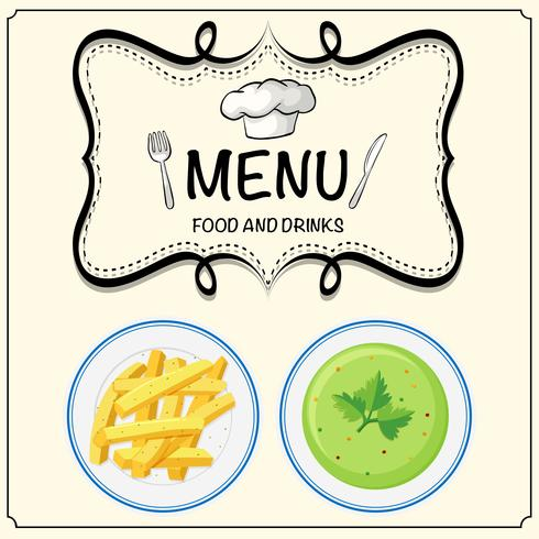Suppe und Pommes Frites auf Menü