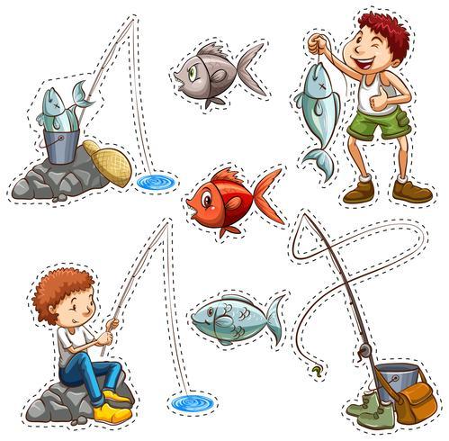 Aufkleberentwurf für die Leute, die fischen