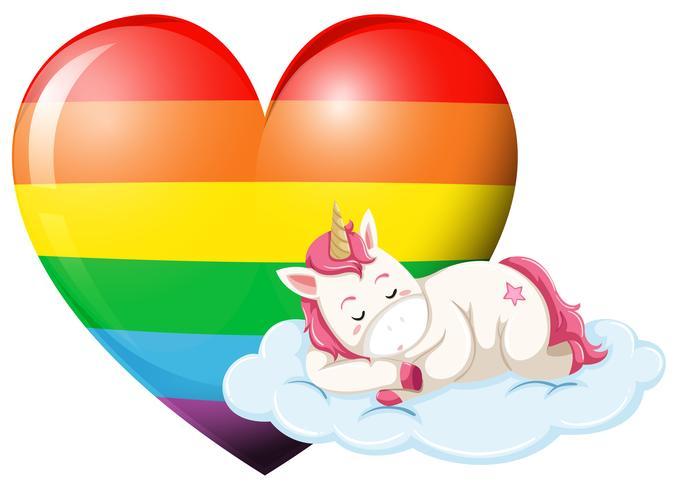 Personagem de unicórnio dormindo com o coração do arco-íris