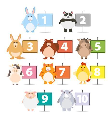 Muitos animais e números de um a dez