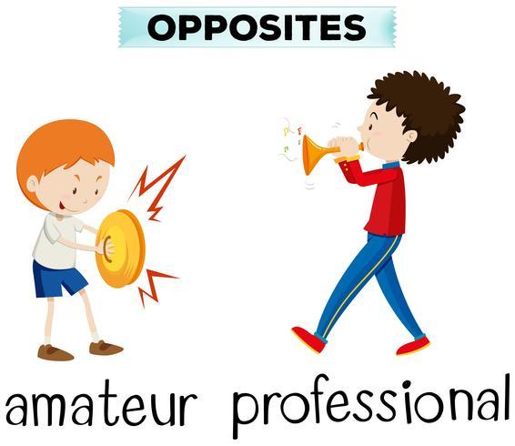 Tegengestelde woorden voor amateur en professional
