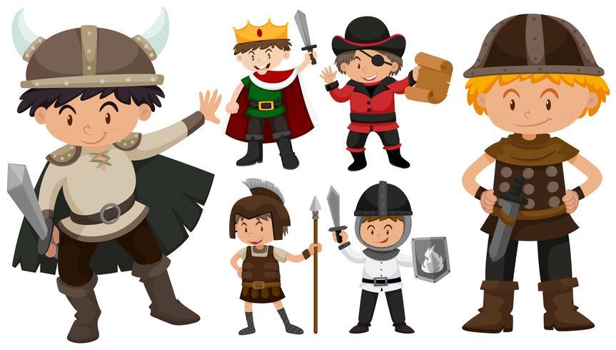 Jongens in verschillende kostuums