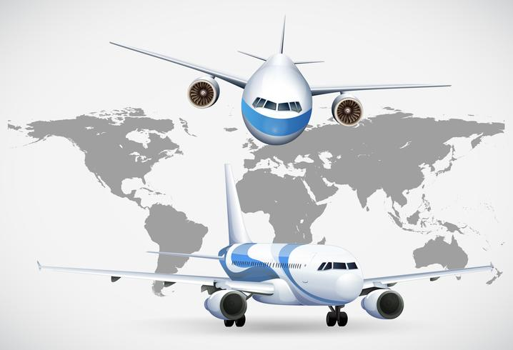 Zwei Winkel von Flugzeugen auf der Weltkarte vektor