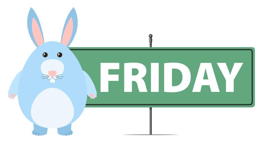 Vrijdagteken met blauw konijntje vector