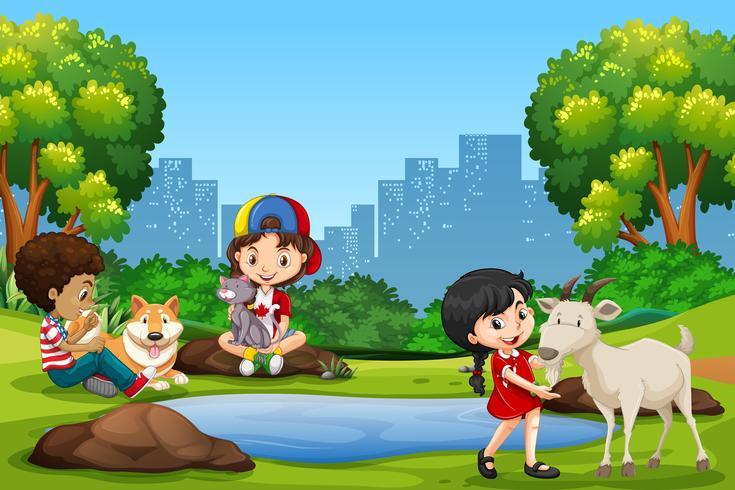 Kinderen en huisdieren in het park vector