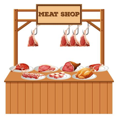 Isolated meat stall on white background