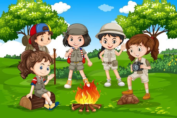 Camping children in nature - Download Free Vector Art, Stock Graphics & Images