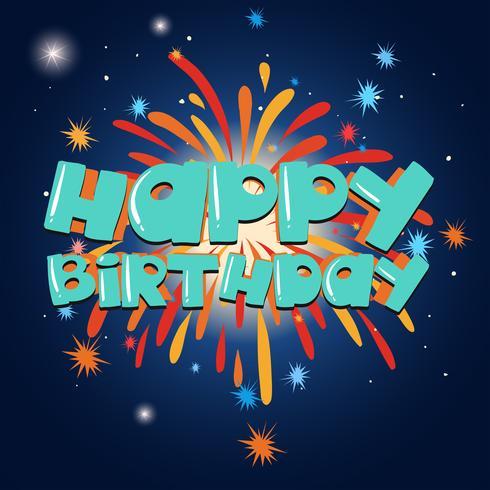 Glückliche Glückwunschkartenschablone mit Feuerwerk im Hintergrund