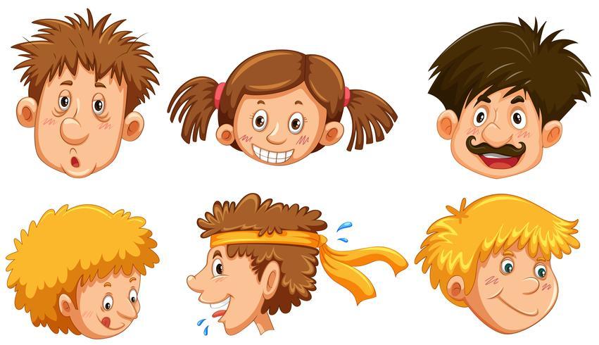 Verschiedene menschliche Gesichter mit einem glücklichen Lächeln
