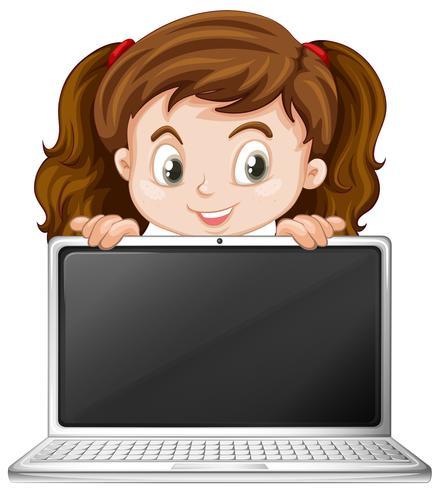 En tjej och bärbar dator