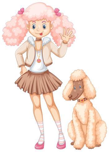 Nettes Mädchen und flaumiger Pudelhund