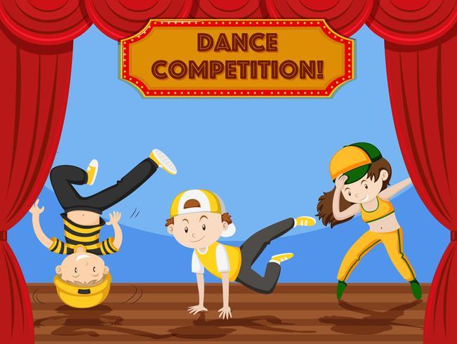 Kinder tanzen Wettbewerb auf der Bühne