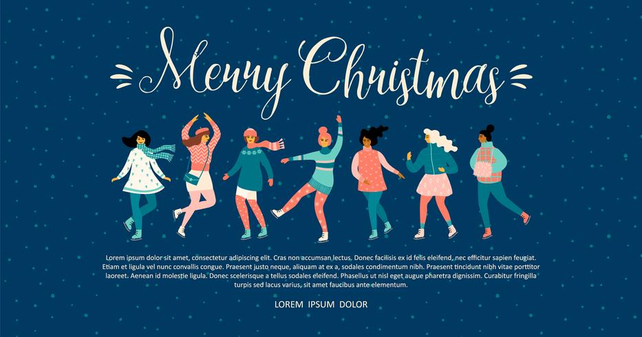 Vector template with women skate. Christmas and New Year mood.