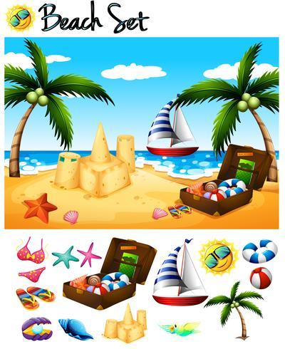 Strandobjekte und Ozeanszene vektor