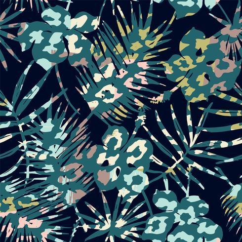 Modisches nahtloses exotisches Muster mit Palme, Tierdrucken und Hand gezeichneten Beschaffenheiten. vektor
