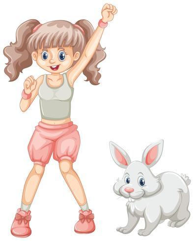 Nettes Mädchen und weißes Kaninchen