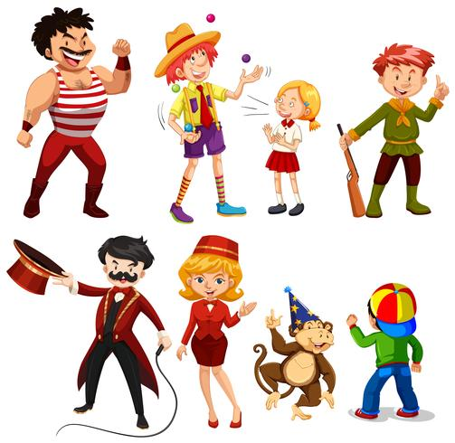 Set of various circus performers vector