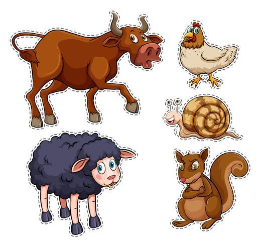 Set di adesivi di animali da fattoria vettore