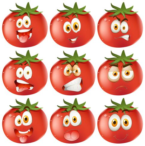 Fresh tomato with facial expressions vector