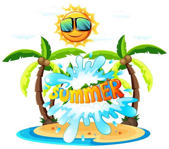 Ein Sommerzeichen auf weißem Hintergrund