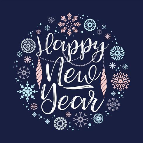 Feliz ano novo, desenhos de letras.