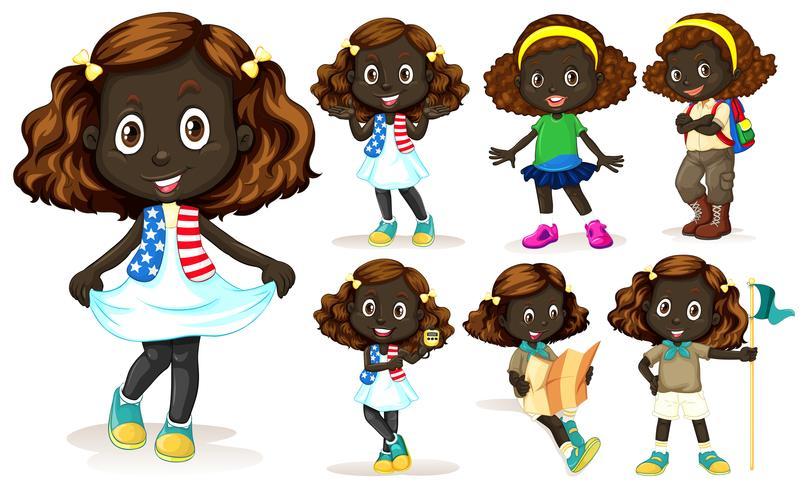African American girl doing different activities vector