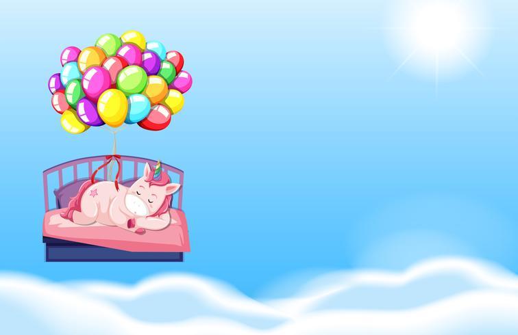 Unicorn sleeping in bed sky background vector