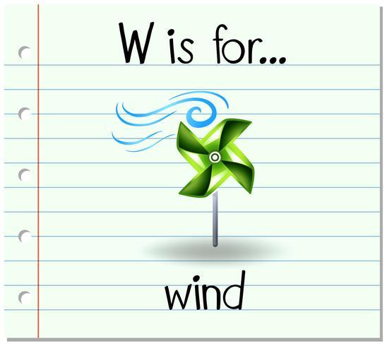 Flashcard lettre W est pour le vent