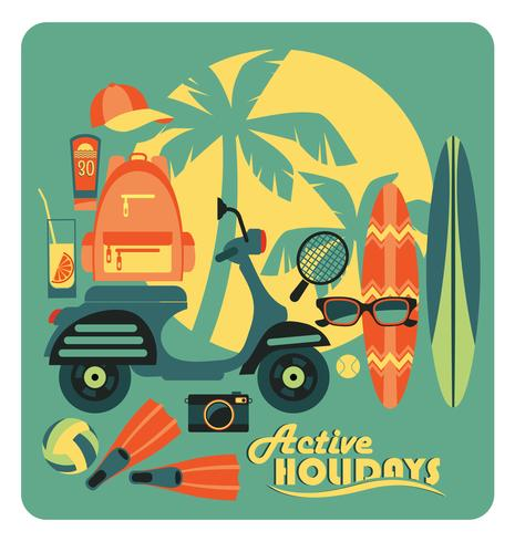 Vector illustration of active summer holidays.