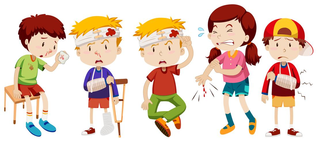 Crianças com feridas de acidente