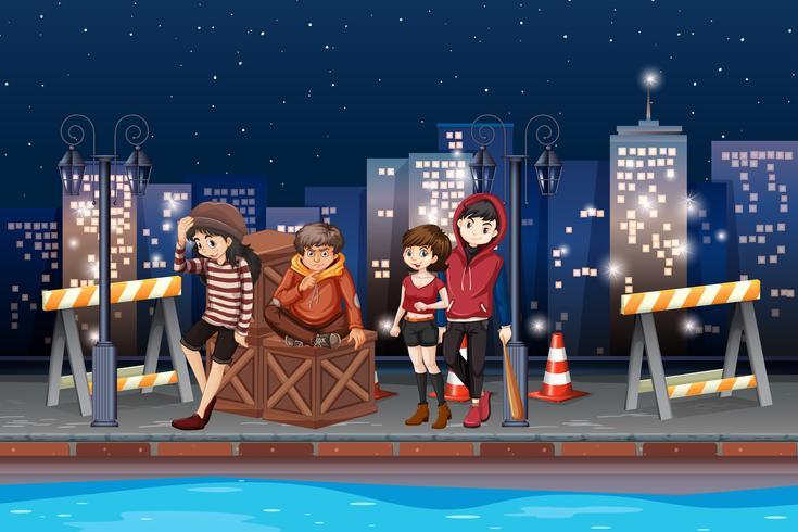 Een groep tiener 's nachts