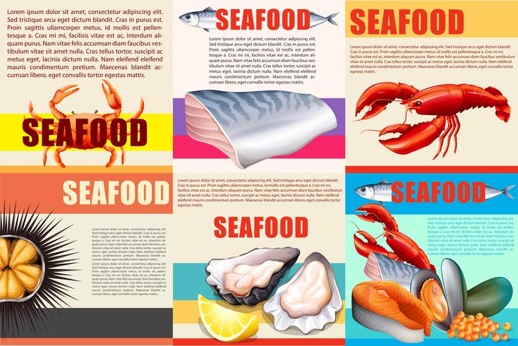 Infographic with text and seafood