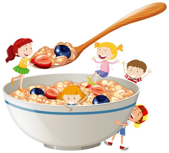Kids and oatmeal with berries