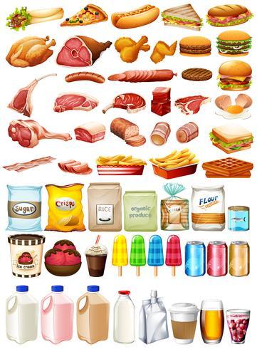 Diferentes tipos de comida y postre.