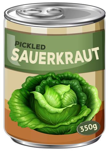 A tin of pickled sauerkraut