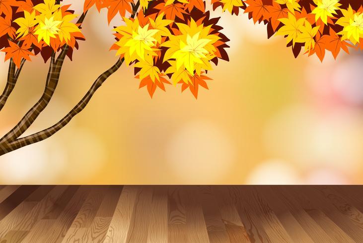 Hintergrunddesign mit gelben Blättern auf Baum