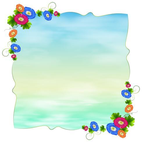 Una plantilla vacía con flores florecientes