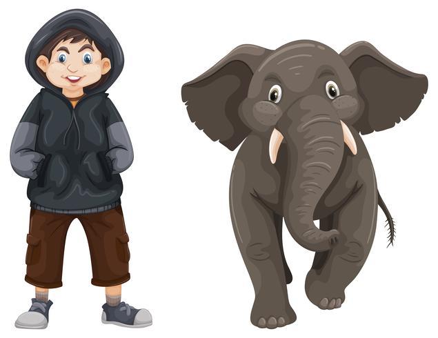Jongen en babyolifant