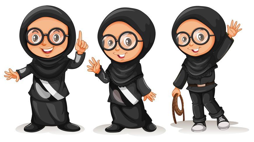 Niña musulmana en trajes negros vector