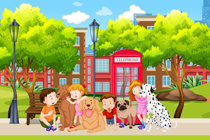 Hundeliebhaber im Park vektor