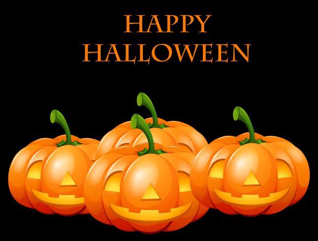 Gelukkige Halloween-kaart met hefboomo lantaarns