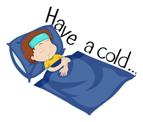 Wordcard voor verkouden worden met jongen die ziek in bed ligt vector